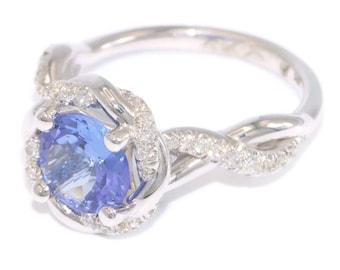 Tanzanite ring, Engagement Ring, Braided Halo Diamond Ring, infinity ring, twisted ring, Tanzanite engagement ring, one of a kind ring