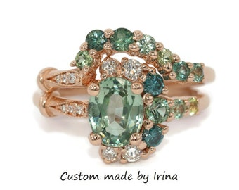 Custom Teal Green Montana Sapphire Engagement Ring Set, SETTING ONLY, One Of A Kind Engagement Rings Set, Vintage style Cluster Rings Set