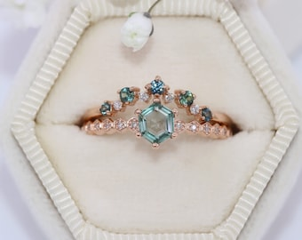 Teal Hexagon Montana Sapphire Ring, Delicate Hexagon Pattern Diamond and Teal Sky Blue Sapphire Ring