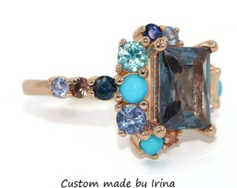 Colorful Cluster Ring, Lavender Purple Ombre Multi-Gemstone Ring, One Of A Kind Custom Ring