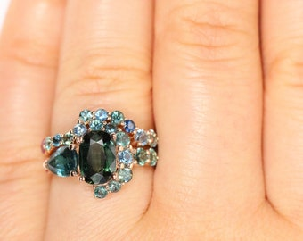 Half-Moon Crescent Engagement Rings Set, 2 Carat Green Sapphire Cluster Ring, Parti Sapphire Ring, Peacock Oval Sapphire Ring, Ombre Ring