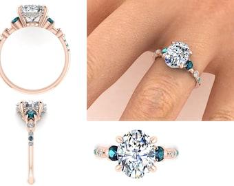 Vintage Oval Moissanite Engagement Ring, Edwardian Inspired Ring, Custom Made Oval Ring