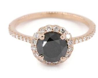Rose gold Black Diamond Engagement Ring, dainty bohemian rose gold diamond halo Wedding Ring, boho delicate promise ring