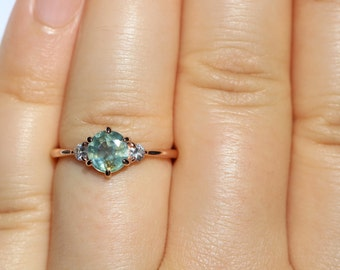 3 Stone Montana Sapphire Engagement Ring, Teal Unheated Montana Sapphire Ring, Pastel Sapphire Ring