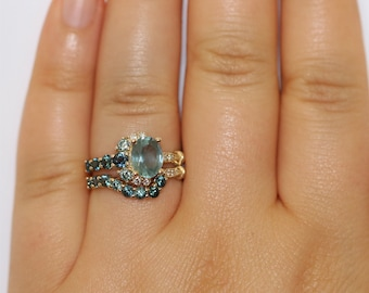 Cluster Matching Wedding Band, Sea Foam Teal Sapphire Matching Band, One Of A Kind Wedding Band, Nesting Wedding Band, Unique Ombre Band
