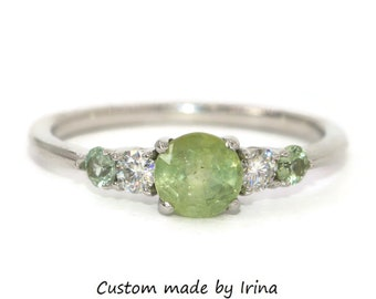 Mint Opaque Unheated Montana Sapphire Engagement Ring, Pastel Green Round Sapphire Ring, Five Stone Unheated Natural Montana Sapphire Ring