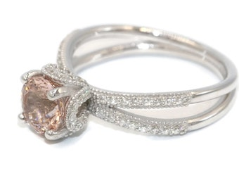Custom Made Morganite Engagement Ring, Diamond Wedding ring, Disney Princess Cinderella Ring, split shank engagement ring
