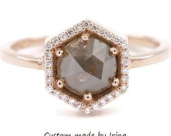 Hexagon Gray Diamond Ring, Rose Cut Grey Diamond Rustic Engagement Ring, Hexagon Diamond Halo 14k Rose Gold Ring, Organic Diamond Ring