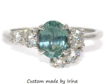 1.5 carat Asymmetric Cluster Teal Montana Sapphire Ring