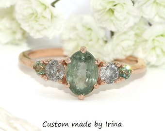 Pastel Green Sapphire Ring, Five Stone Unheated Natural Montana Sapphire Ring, 1 carat Oval Montana Sapphire Ring, 5 Stone Ring