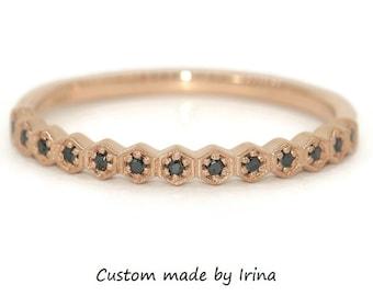 Black Diamond Hexagon Wedding Band, Dainty Matching Wedding Ring
