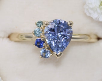 Pear Sapphire Engagement Ring, Cluster Engagement Ring, One Of A Kind Ring, Ombre Sapphire Ring, Half Moon Ring, Pear Sapphire Ring