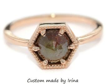 Hexagon Gray Diamond Ring, Rustic Rose Cut Diamond Engagement Ring, Organic 2 carat Diamond Ring, Alternative Proposal Ring, Geometric Ring