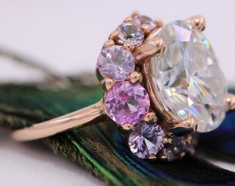 Moissanite Engagement Ring, Ombre Cluster Ring, One Of A Kind Ring, Half-moon ring, Crescent Celestial Half Moon Ring, Pink Sapphire Ring