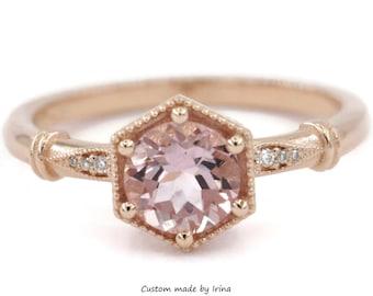 Hexagon Morganite Edwardian Style Inspired Engagement Ring by Irina