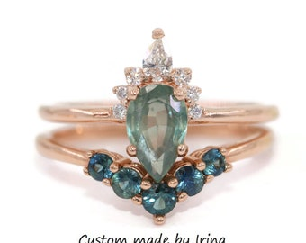 Pastel Green Sapphire Ring, Teal Pear Montana Sapphire Ring, Sunburst Half Halo Diamond Ring, 1 carat Teal Green Gray Sapphire Ring