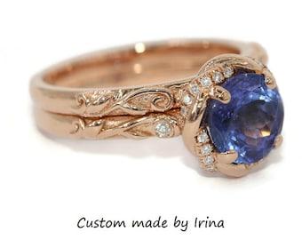 Tanzanite Engagement Ring, Twist Halo Infinity Braided Halo Ring, Vine Leaf Tanzanite Engagement Rings set