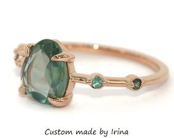 Pastel Sapphire Ring, Alexandrite Ring, 5 Stone Ring, Montana Sapphire Engagement Ring, Teardrop Teal Sapphire Ring