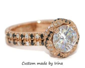 Forever One Moissanite Braided Halo Engagement Ring by Irina