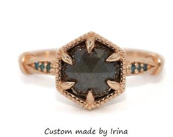 Rustic Diamond Ring, Hexagon Diamond Ring, Alternative Engagement Ring, 14k Rose Gold Diamond Ring, Hexagon Ring