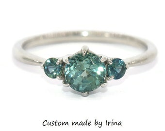 Three Stone Ring, Sea-Foam Teal Sapphire Ring, Mermaid Blue Green Sapphire Ring, Setting ONLY, Custom Made 3 Stone Montana Sapphire Ring