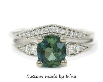 2 carat Blue Green Sapphire Engagement and Wedding Rings Set