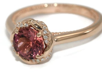 Tourmaline Engagement Ring Set, Rose gold wedding ring set, Braided Halo signature design ring set by Irina, diamond infinity entwined rings