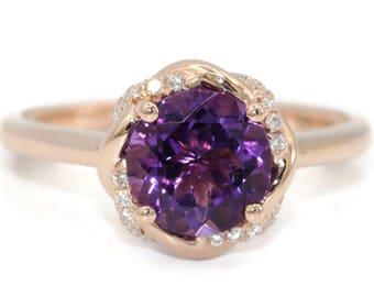Amethyst engagement ring, alternative engagement ring, rose gold wedding ring, diamond infinity promise ring
