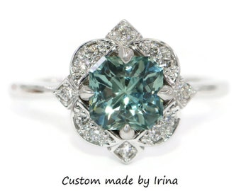 GIA Certified Blue Green Sapphire Ring, Custom Made 2 carat Teal Sapphire Engagement Ring