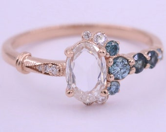 Rose Cut Oval Diamond Cluster Ring, Vintage Inspired Engagement Ring, Half Moon Crescent Ring, Unique Engagement Ring, One Of A Kind Ring