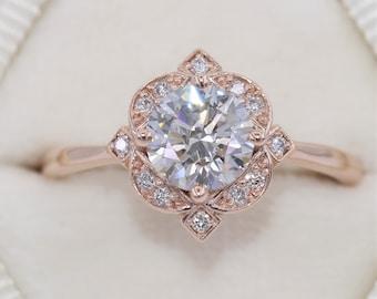 1 carat Diamond Engagement Ring, Floral Halo Diamond Ring, Vintage Inspired Engagement Ring, Certified 1 ct round Lab Diamond Ring