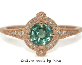 Teal Green Montana Sapphire Ring, Edwardian Engagement Ring, Vintage Style Ring, Custom Made Ring by Irina