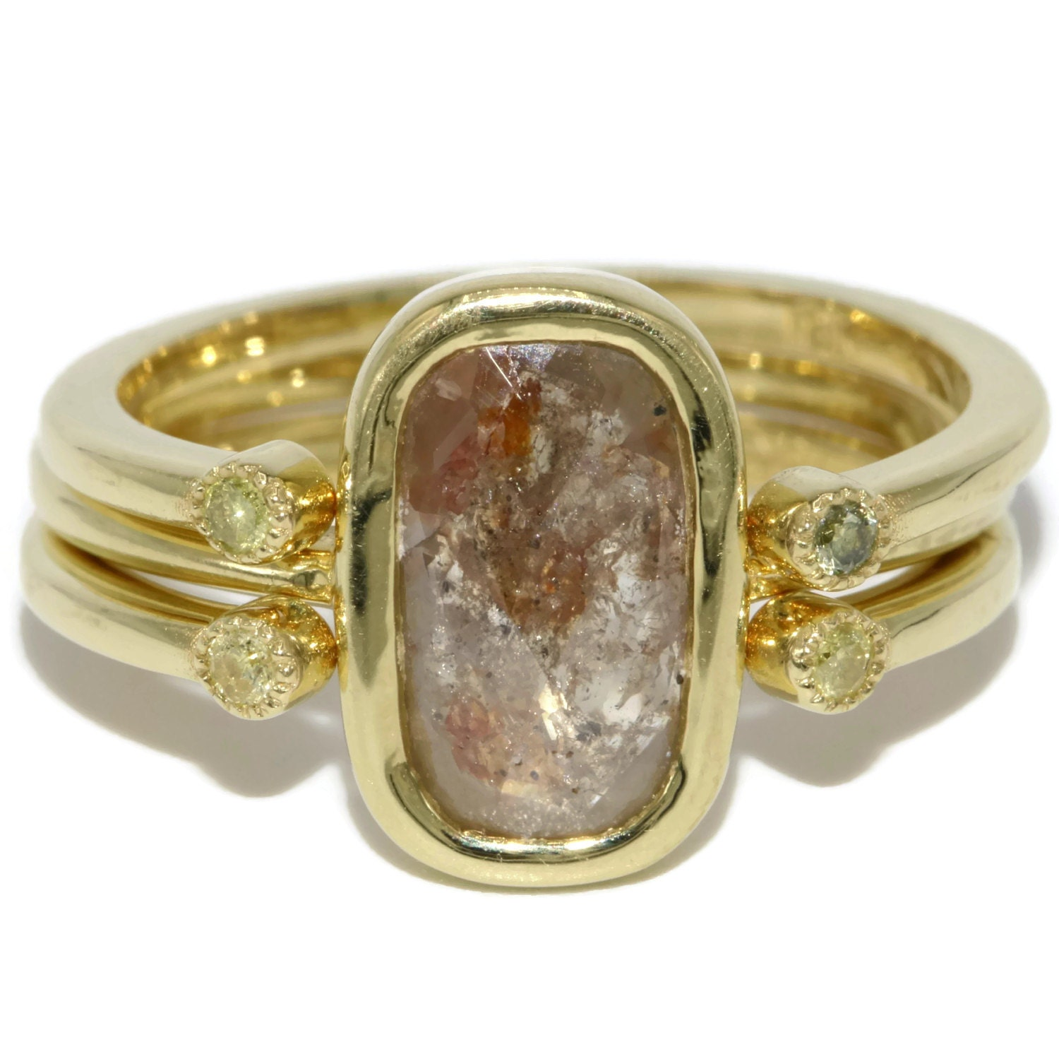 Rustic Diamond: Rose Cut Rustic Diamond Ring Stacking Ring Set 18k Gold