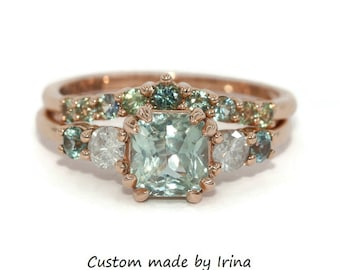 Pastel Green Sapphire Ring and Matching Ombre Wedding Band, Five Stone Teal Green Sapphire Rings Set