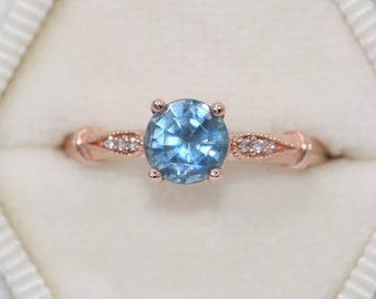 Unheated Montana Sapphire Engagement Ring, SETTING ONLY, Custom Made Natural Montana Ring, Vintage Inspired Mermaid Sapphire Ring
