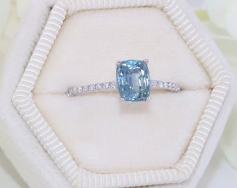 SETTING ONLY, Custom Made Montana Sapphire Ring, Diamond Shank Solitaire Ring