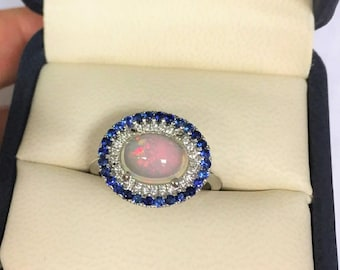 Sapphire and Diamond Opal Ring, alternative engagement ring, anniversary ring for her, October Birthstone Ring