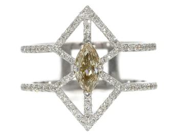 Geometric Diamond ring, Diamond Engagement ring, Natural Diamond Wedding Ring, Marquise Diamond Ring, cage ring