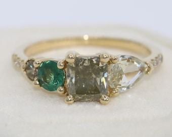 1 carat Salt and Pepper Gray Diamond + Alexandrite Cluster Engagement Ring by Irina, Natural Alexandrite Ring, Custom Made Engagement Ring