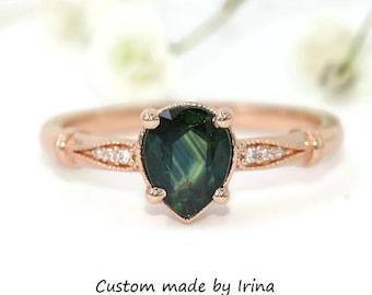 Pear Blue Green Sapphire Ring, Mermaid Engagement Ring, Vintage Style Ring, Teal Sapphire Ring, Edwardian Ring, Peacock Parti Sapphire Ring