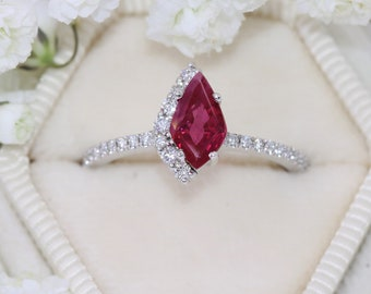 1 carat Ruby Ring, Cluster Engagement Ring, One Of A Kind Ring, Geometric Cluster Ring, Kite Shape Burma Ruby Ring, Ready to ship Size 6.5