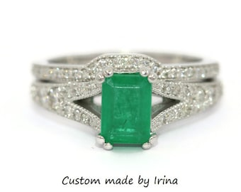 Emerald and Diamond Engagement Rings Set, Vintage style Emerald Engagement and Wedding Ring Set
