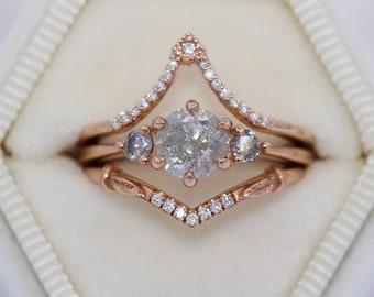 Galaxy Three stone Gray Diamond Ring, 14k Rose Gold Grey Diamond Ring, 1 carat Salt and Pepper Diamond 3 Stone Ring
