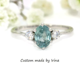 SETTING ONLY, Unheated Montana Sapphire Three Stone Ring, Teal Blue Sapphire Ring, Custom Made 3 Stone Montana Sapphire Engagement Ring