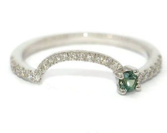 Nesting Wedding Band, U shape Engagement Band, Half Circle Wedding Ring