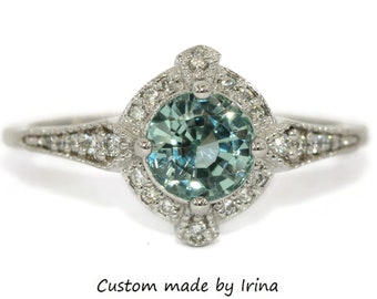 Unheated Montana Sapphire Engagement Ring, 1 carat Teal Sky Blue Sapphire Ring, Vintage Edwardian Style Ring Custom Made by Irina