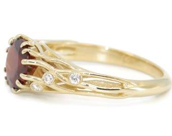 Garnet Ring, rustic yellow gold diamond ring, boho anniversary ring, dainty bohemian wedding engagement ring, unique promise gemstone ring