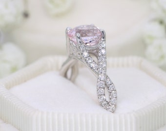 1 carat Morganite Ring, Twist ring, Morganite Engagement Ring, Diamond Rope Engagement Ring, Braid Ring, Strand Ring Ready To Ship Size 5.25