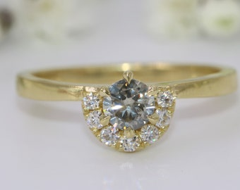 Half Halo Gray Diamond Ring