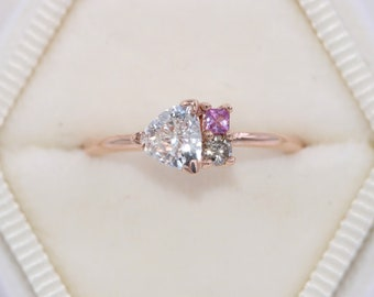 Trillion Cluster Ring by Irina, Colorful Ombre Pink Sapphire and Champagne Diamond Ring, Asymmetrical One Of A Kind Ring